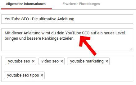 YouTube SEO-beschreibung