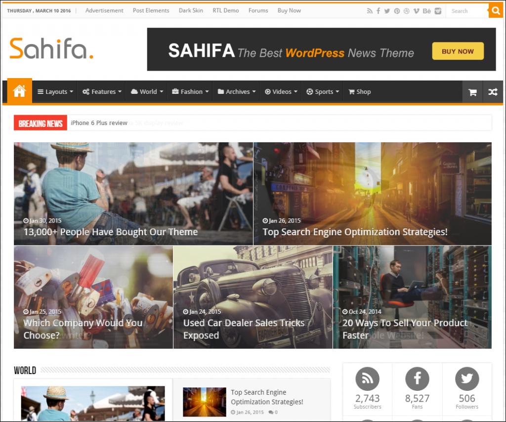 sahifa theme die besten wordpress themes