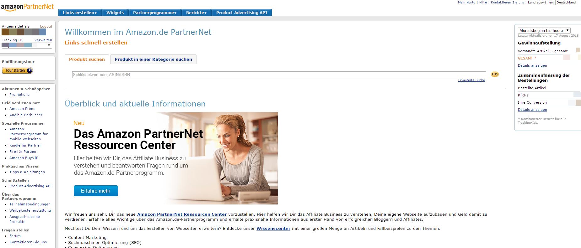 amazon partnernet dashboard