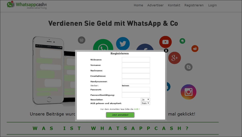 whatsappcash anmelden