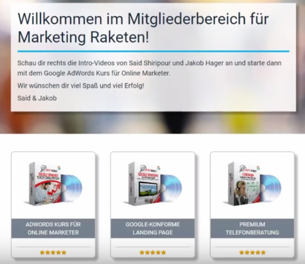 marketing rakete erfahrungen adwords kurs mitglieder
