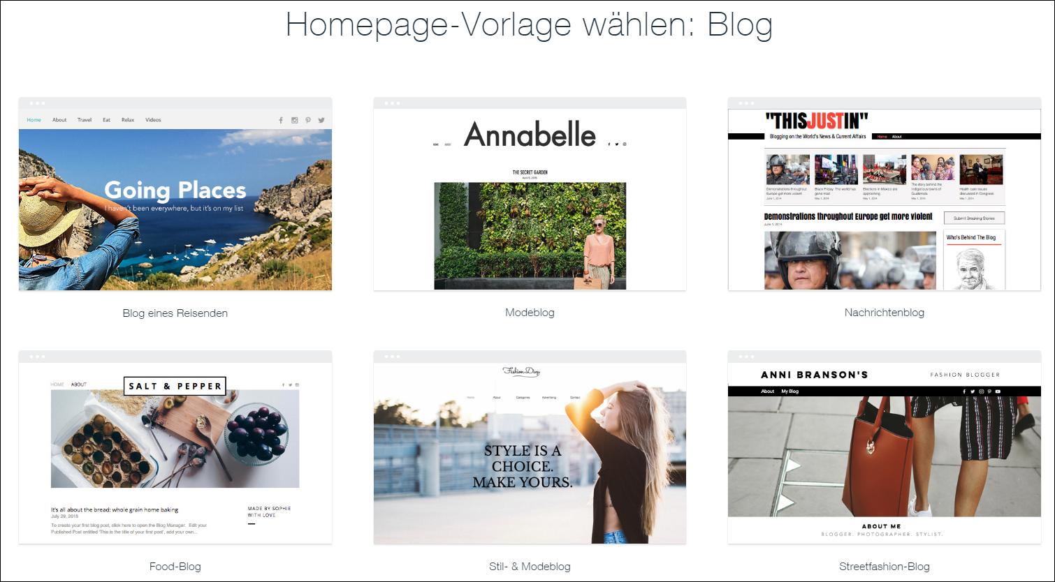 wix blog erstellen design vorlage