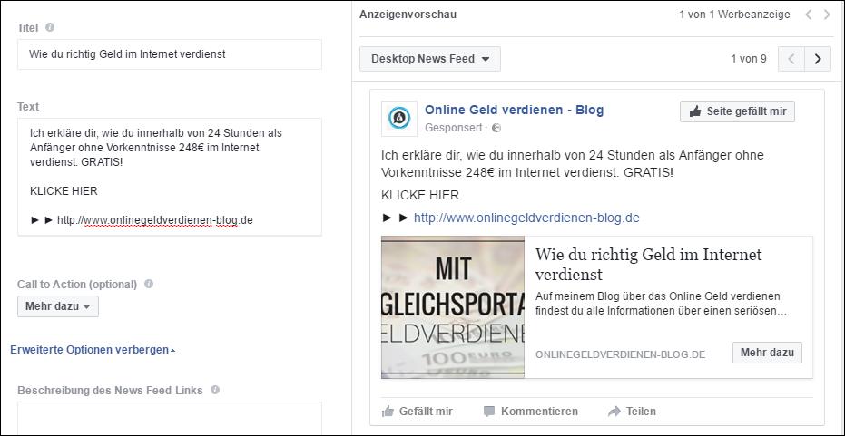 facebook werbeanzeige erstellen beschreibung text