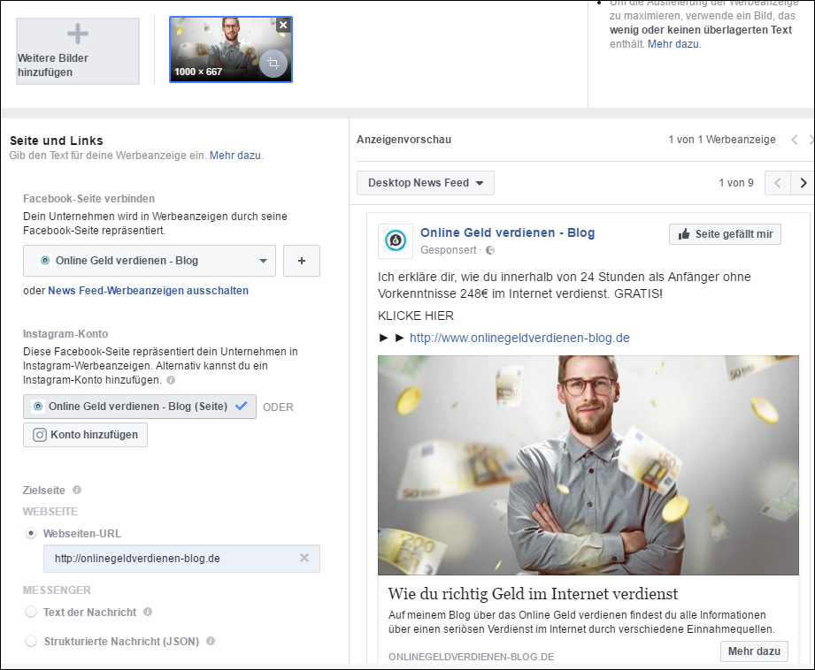 facebook werbeanzeige schalten bild