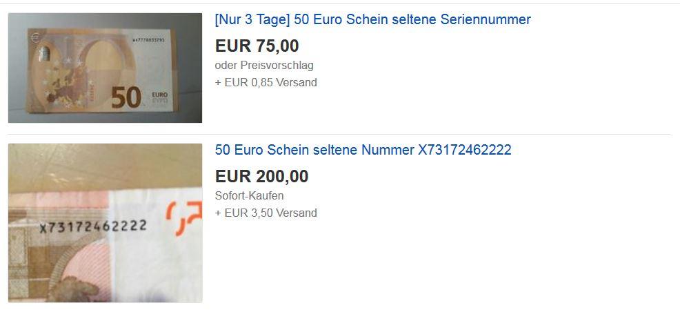 50 Euro Schein bei Ebay