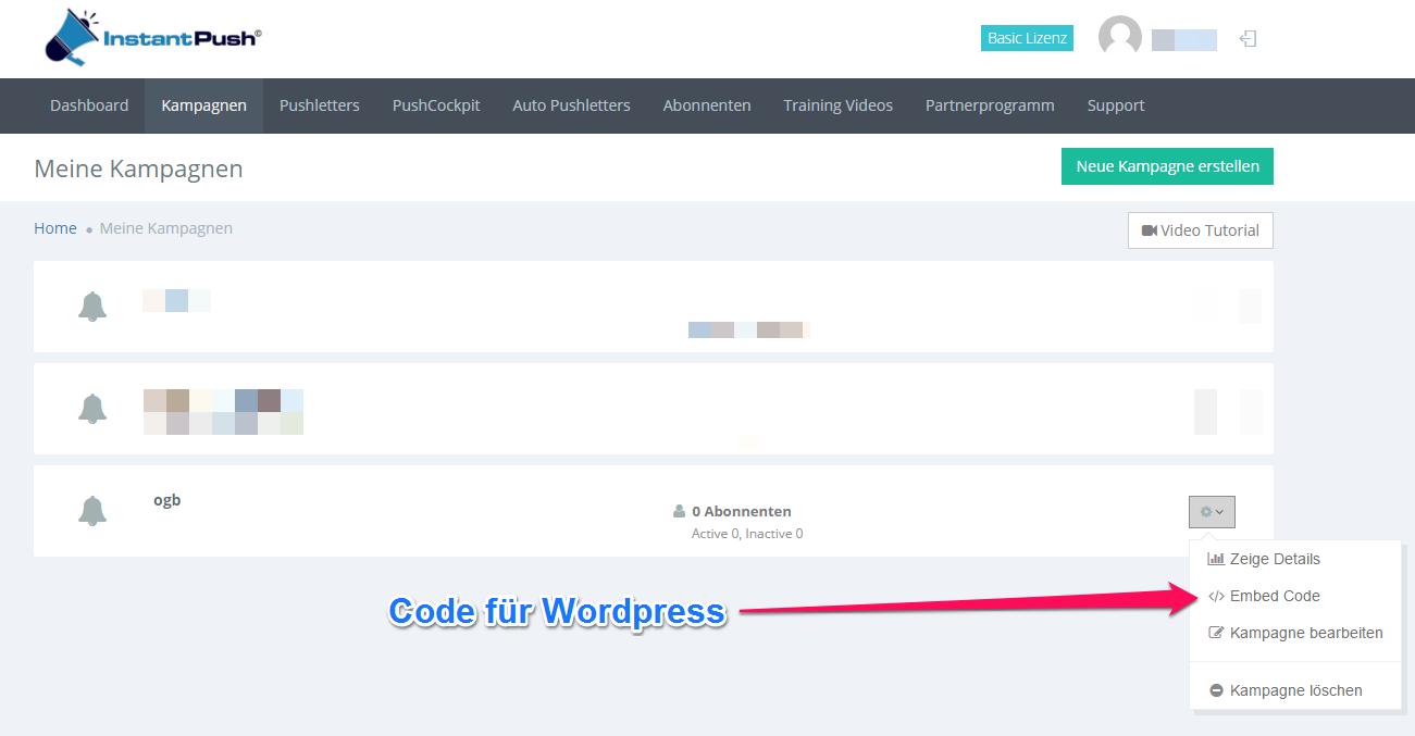 instantpush embed code wordpress