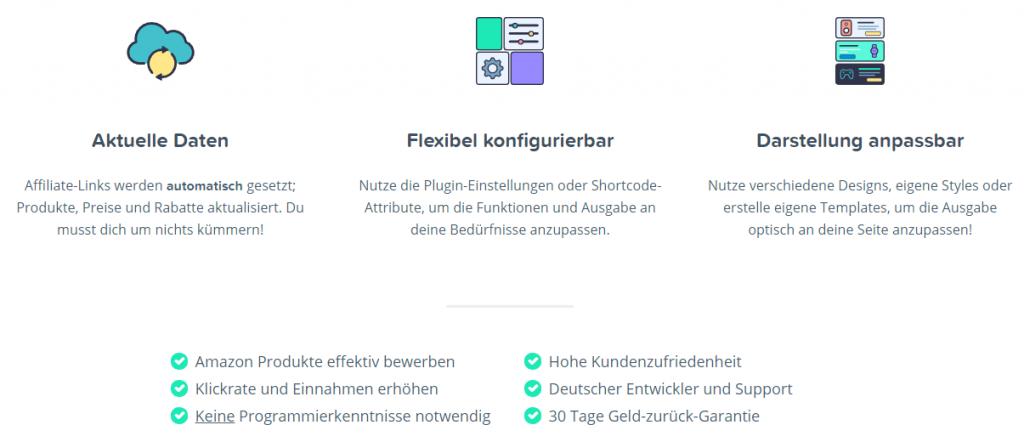 Das Amazon Affiliate for WordPress-Plugin - Funktionen