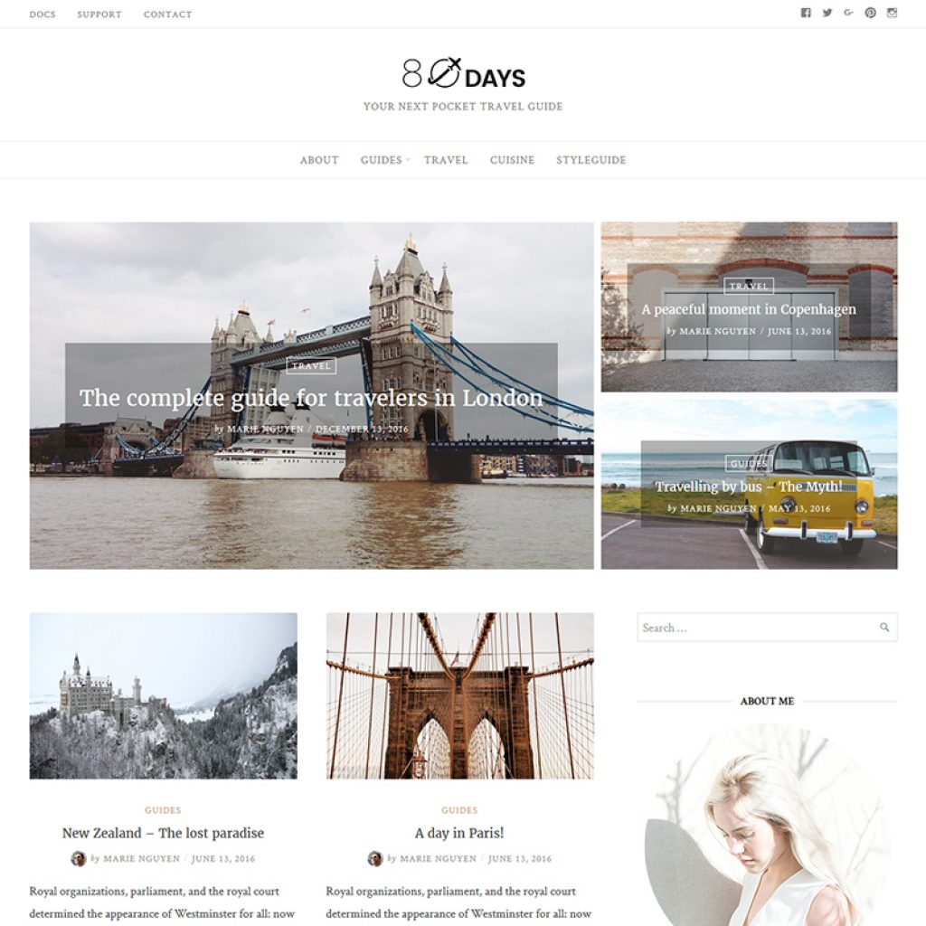 "WordPress Theme namens ""EightyDays - Travel Blog"""