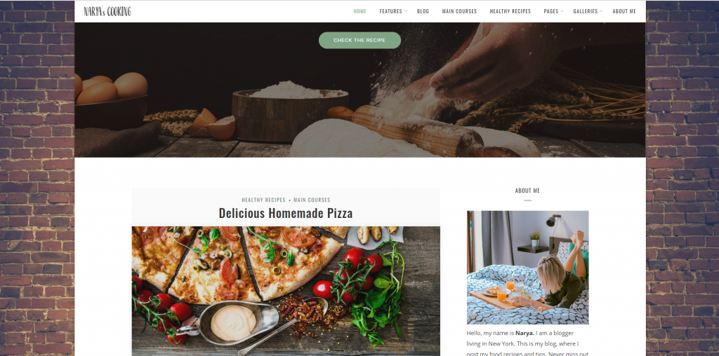 "WordPress Theme namens ""Narya - Food Blog For Cooks"""