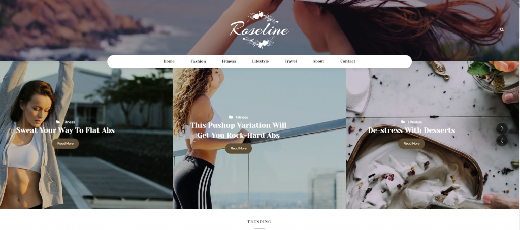"WordPress Theme namens ""Roseline - Personal Blog"""